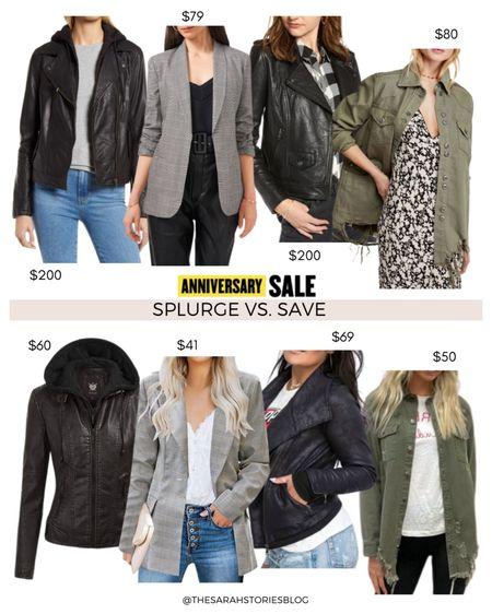 Nordstrom Sale alternatives, #nsale dupes, look for less // Save vs Splurge // leather hooded jacket, plaid blazer, leather biker jacket, Free People utility distressed jacket http://liketk.it/3jXRf #liketkit @liketoknow.it #LTKsalealert #LTKstyletip #LTKunder100