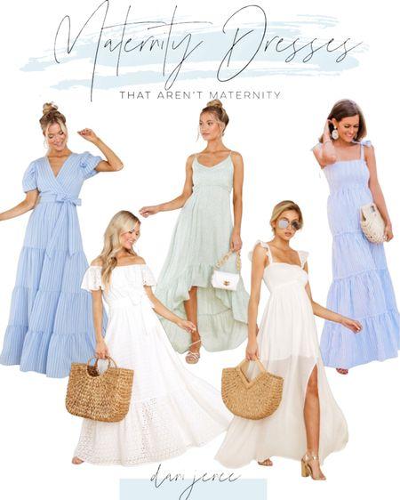 Maternity dresses that aren't maternity for Spring/Summer Photoshoot outfit inspiration!   #LTKSpringSale #LTKbump #LTKunder100