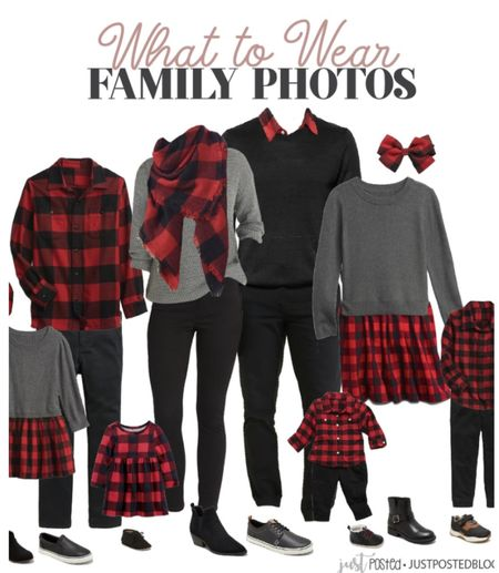 What to wear to family photos featuring red and black Buffalo plaid! This look is perfect for Christmas!   #LTKfamily #LTKHoliday #LTKSeasonal