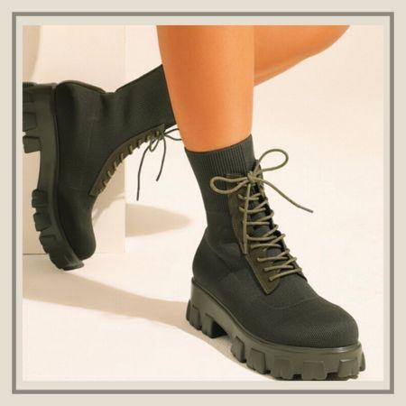 Lace up front knit combat chelsea boots from Shein   #LTKunder50 #LTKstyletip #LTKshoecrush