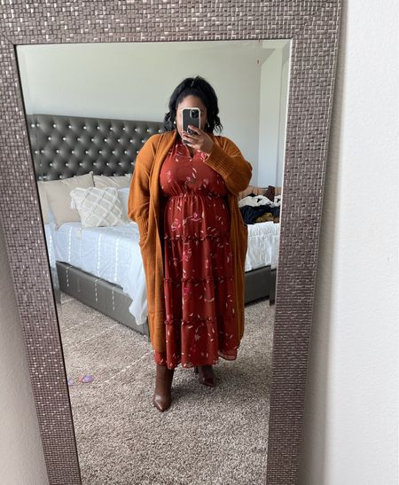 Plus size fall outfit | $35 dress, bohemian ruffle trim dress, fall dress, rust dress, plus size dresses, cardigan sweater robe, affordable fall outfit   #LTKcurves #LTKSeasonal #LTKunder50