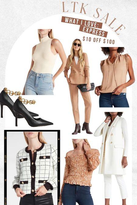 On sale at express! These gold chain heels are 😍😍 Love their work wear pieces!   #LTKsalealert #LTKstyletip #LTKworkwear