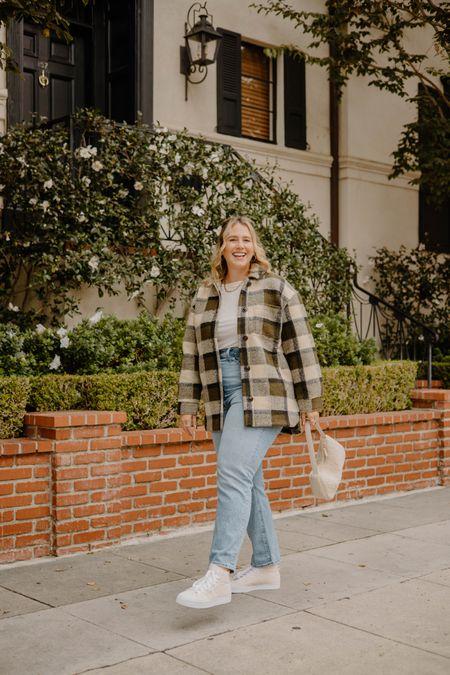 Fall OOTD   I'm wearing the size 32 in the jeans, size large in the top, and size large in the Shacket, everything runs TTS!  #LTKSeasonal #LTKcurves #LTKstyletip
