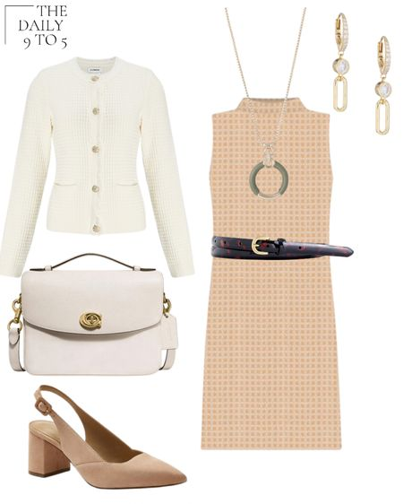 The Daily 9 To 5: August 23, 2021 Beginning the transition to Fall workwear with this @anntaylor neutra geometric mock neck shift dress. Would pair well with tall boots and tights as well. Layered with this textured sweater @express  and a tortoise belt. Accessorized with suede block heel slingbacks, a @coach  bag and this unique olive green leather pendant  Back to work, express, workwear business casual   #LTKworkwear #LTKstyletip #LTKunder100