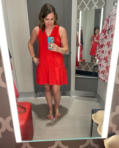 I'd seen a lot of gals in this short ruffle bottom dress. It looks adorable on them but I'm not sure it's for me. The red color was great though and would be another fab Fourth of July dress!    http://liketk.it/3hmMj #liketkit @liketoknow.it #LTKunder50 #LTKsalealert #LTKcurves