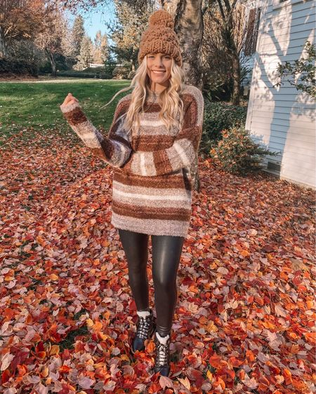 Soaking up the last few weeks of fall! http://liketk.it/30XXE #liketkit @liketoknow.it #LTKunder50 #LTKunder100 #LTKFall sweater faux leather leggings beanie