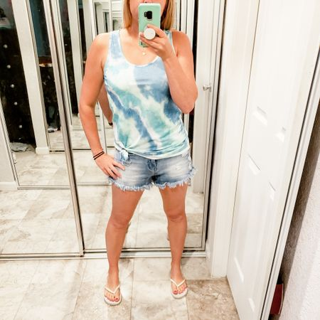 Tank tops in Summertime is my favorite especially when they are tiedye. This print is so fun and if you size up it can work as a swinsuit coverup. Im in a small TTS. My jean shorts are over 50% off right now and only $11 http://liketk.it/3fbWL @liketoknow.it #liketkit #LTKSpringSale #LTKsalealert #LTKstyletip #LTKunder50 #LTKunder100 #LTKfit #LTKswim #LTKshoecrush #LTKtravel Shop your screenshot of this pic with the LIKEtoKNOW.it app