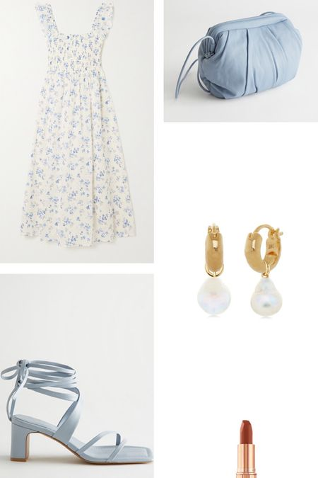Wedding guest outfit idea. Neutral and blue