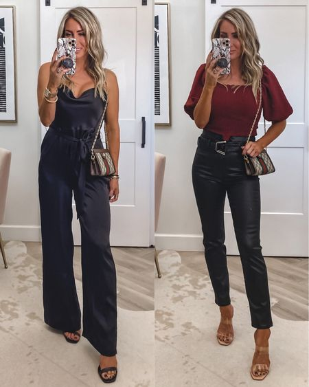Express try on outfit ideas the prettiest jumpsuit for evening  And the most gorgeous black coated denim ever  Jumpsuit small Too small Jeans sz 4 Gucci evening bag with chain  Heels on sale tts   #LTKunder50 #LTKstyletip #LTKwedding