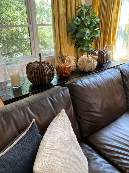 Fall Decor 🎃🍂 . . #Fall #FallDecour #FallDecourStyle #Pumpkins #Pumpkin #fauxtree #WickerPumpkin #ThrowPillow #Livingroom #LivingroomStyle #Homestyle #Target #TargetStyled #PotteryBarn #ThrowPillows #Sofa #Couch #LeatherSofa #LeatherCouch #FlamelessCandle #Kendall #Amazon #AmazonSigns #AmazonHome #Home  #LTKhome