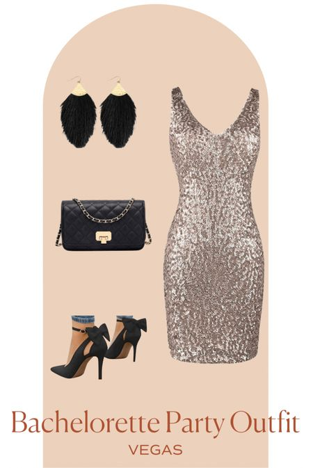 Looking for a killer Vegas outfit as you're headed out for your bachelorette party babe? Check out this gold sequin dress paired with black bow heels, black quilted clutch and black fringe earrings to make a killer impact 🔥   Also great for a Valentine's Night out outfit     #LTKtravel #LTKVDay #LTKwedding