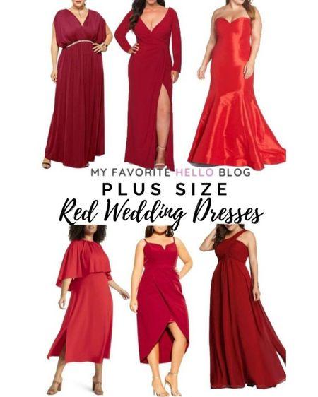 Red wedding dresses plus size. Plus size dresses under $50. Plus size wedding guest dress. http://liketk.it/3fh7B #liketkit @liketoknow.it #weddingdress #plussize #reddress  #LTKunder100 #LTKunder50 #LTKwedding