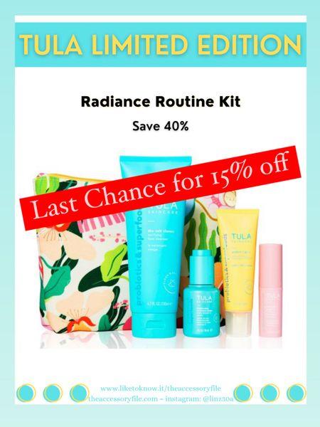 Use code GLOW15 for 15% off   Tula limited edition kit. Facial cleanser, vitamin C serum, SPF 30 sunscreen, rose glow & get it cooling & brightening eye balm, skincare   http://liketk.it/3hQKO  #liketkit @liketoknow.it #LTKbeauty #LTKsalealert #LTKunder100