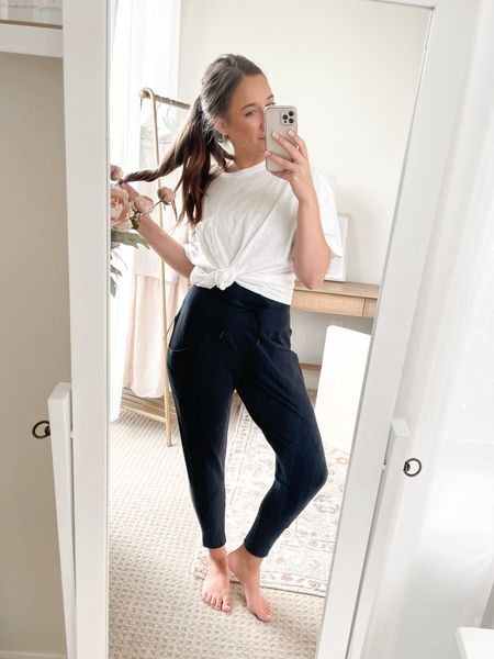 Loungerwear goals 🖤 These high waisted joggers will be on REPEAT! Love this boxy T-shirt, and underneath is the comfiest bralette. All so affordable!   #LTKhome #LTKunder50 #LTKstyletip
