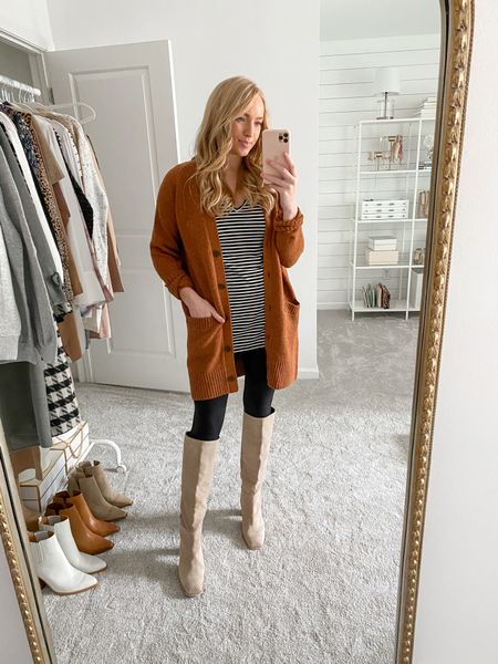 Casual fall outfit with a rust cardigan, stripes basic long sleeve, and the best leggings from the Nordstrom Anniversary Sale! These leggings will be price matched tomorrow on the Spanx website 😉  #LTKsalealert