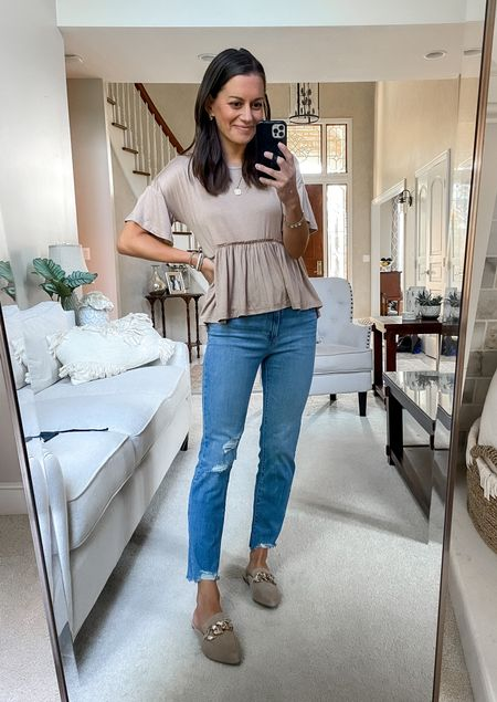 Amazon finds - amazon fashion peplum tee (tts), amazon Levi's jeans (tts), Steve Madden mules (tts) - fall outfit - fall fashion   #LTKstyletip #LTKunder50 #LTKsalealert