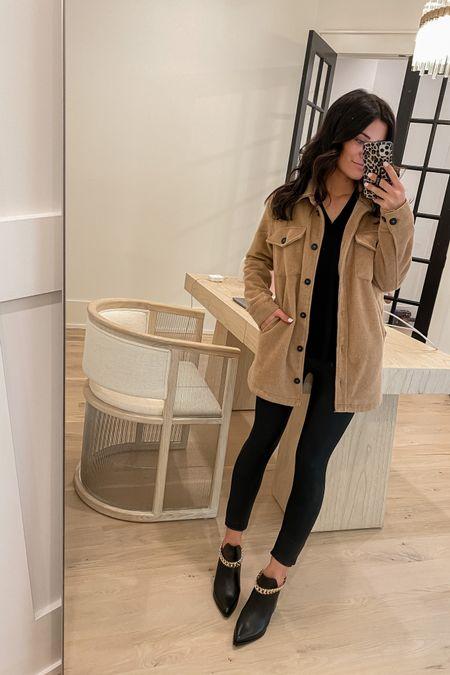 http://liketk.it/3jPOq #liketkit @liketoknow.it  shacket leather leggings