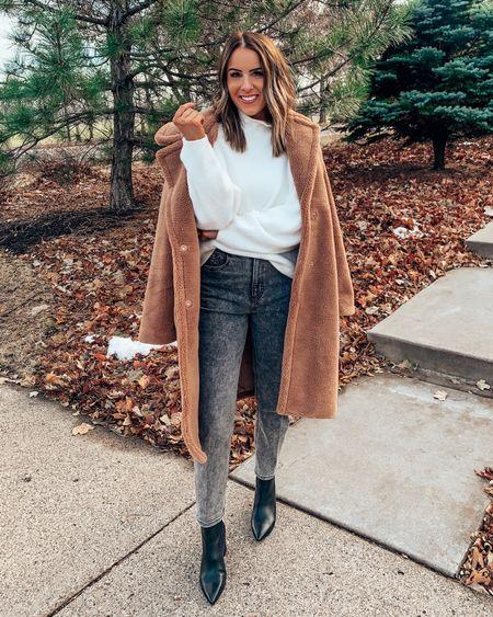 Cozy fall & winter outfit idea // white turtleneck sherpa coat booties black faded jeans   #LTKstyletip #LTKSeasonal #LTKHoliday