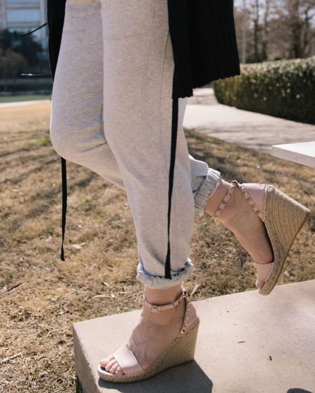 #dressingup #joggers with a fabulous pair of wedges. Joggers aren't just for athletic shoes anymore. http://liketk.it/3ej10 #liketkit @liketoknow.it #LTKworkwear #LTKshoecrush #LTKstyletip Shop your screenshot of this pic with the LIKEtoKNOW.it shopping app