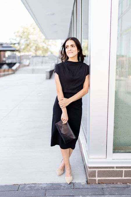 One of my favorite outfits for Fall - closet essentials - black sheath dress, envelope clutch, nude suede pumps    #LTKstyletip