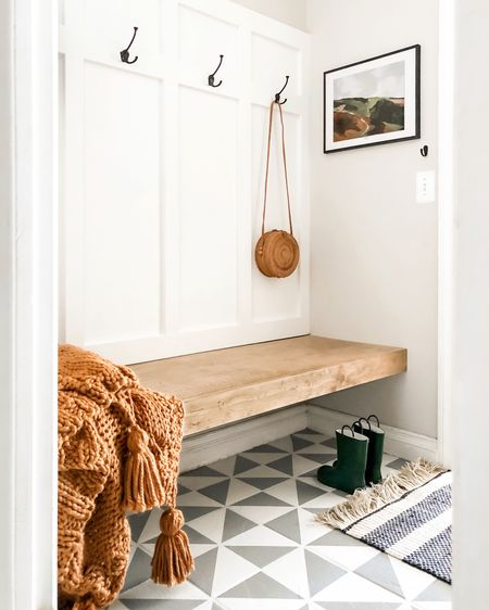$200 MUDROOM transformation! Doesn't the art pull it all together?? And this is why I love DIY, the adrenaline rush always keeps me coming back for more. -DIY bench -DIY board and batten -DIY painted floor 👉🏻see stories for the ultimate scratch test on this painted floor and see process shots! . .  http://liketk.it/2FdS5 #liketkit @liketoknow.it