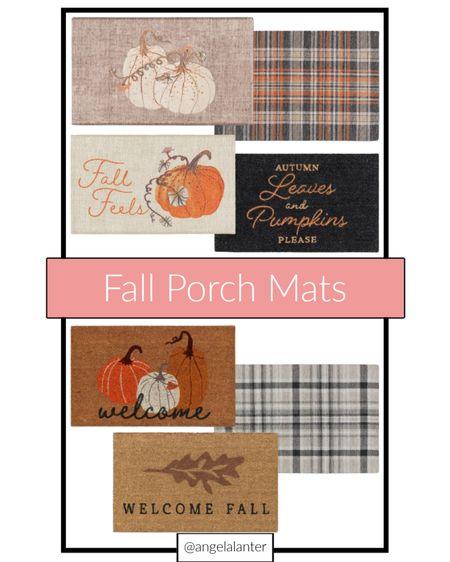 Favorite fall front porch mats! Love these pumpkin and plaid designs!   #LTKSeasonal #LTKHoliday #LTKunder50