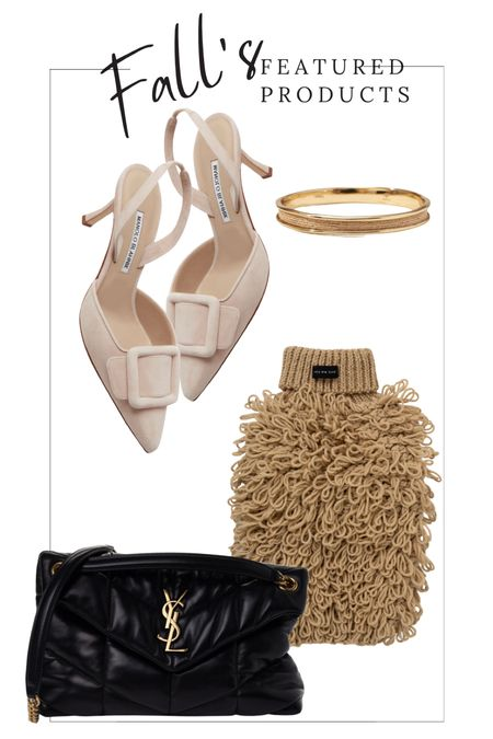 """Fall Trends. Manolo Blahnik Suede Slingbacks. Saint Laurent LouLou Puffer Monogram Chain Satchel in Black.  Golden Cuff Bracelet. Max-Bone Curly Knit Jumper For Dogs.  *Save 15% your Max-Bone purchase when you use code """"LINDSEYANDCOCO.""""    #ltkpet #dogmom  #LTKSeasonal #LTKstyletip #LTKitbag"""