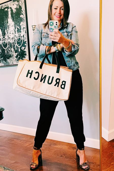 Day 1 of my styling your jogger series. This outfit is perfect for a brunch with your besties….the shoes and tote take it to the next level!!  #LTKshoecrush #LTKunder50 #LTKsalealert