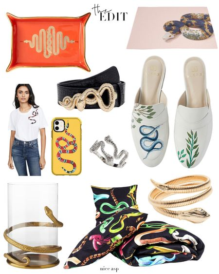 Nice Asp! 🐍🐍🐍 A different spin on the snake print trend. Jewelry, accessories, shoes, decor (and a cute tee) that feature a serpent motif. http://liketk.it/2K4gS #liketkit @liketoknow.it Screenshot this pic to get shoppable product details with the LIKEtoKNOW.it app • • • • •  #LTKhome #snake #snakeprint #python #fashion #style #theedit #bracelet #home #decor #accessories #phonecase #bath #mules #jewelry #serpent #styletherapy #retailtherapy #stylefile #lifestyle #stylediaries #gift #giftguide