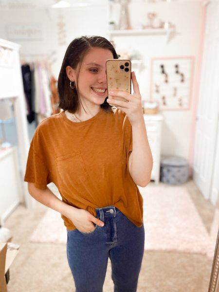 Loving this target look! Tee comes in tons of color options too and fits tts!🙌 #targetstyle #targetfinds #jeans #falloutfits   #LTKunder50 #LTKSeasonal #LTKstyletip