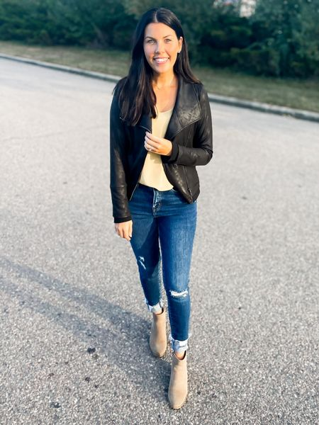 The best leather jacket!! It's similar material to the Spanx faux leather leggings. Stretchy and comfy! I wear my true small. I could have done a medium too!   #LTKGiftGuide #LTKHoliday