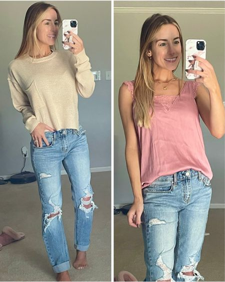 Lulu's Mauve Tank Top Cream Sweater Distressed Mom Jeans  #lulus #momjeans #tank #lovelulus   #LTKSeasonal #LTKunder100 #LTKstyletip