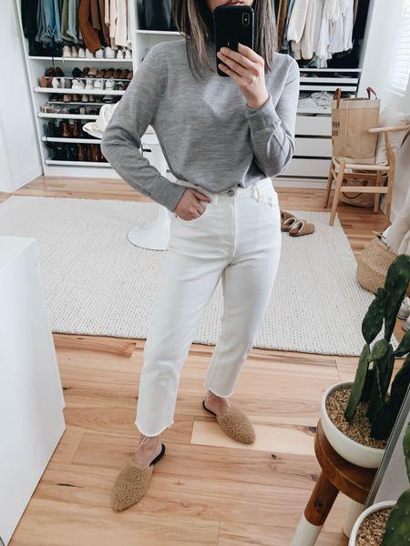 Jenni Kayne Sherpa mules. How to style white jeans.   Sweater - Jenni Kayne xs Jeans - Everlane 24  Mules - Jenni Kayne 35   Use code Crystalin15 to get 15% off Jenni Kayne http://liketk.it/38q3h #liketkit @liketoknow.it