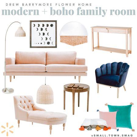 Modern Boho Living Room vibes from Walmart — Flower by Drew Barrymore! . . . . . .  Boho bedroom // bed // bedroom // bedding // bedding set // pillow // pillows // throw pillows // basket wall // rug // rugs // area rug // nightstand // side table // master bedroom // master // boho master bedroom // baskets // gold mirror // Anthropologie // anthro mirror // Anthropologie mirror // bohemian vibes // bohemian style // boho style // modern // Scandinavian // shelving // shelf // geometric shelf // hexagon shelf // industrial // modern farmhouse // farmhouse // quilt // bedroom suit // mirror // gold mirror // sunburst mirror // Walmart home // target home // Etsy home decor // Amazon home // wall art // modern art // framed art // feature wall // wall collage // bedroom decor // bedroom inspiration // living room // home decor // target style // Target finds // Walmart finds // boho // bohemian // Modern farmhouse // threshold // Opal house // project 62 // Target home // mirror // rattan decor // rug // rugs // pottery // coffee table // table // couch // bed // bedroom // bed frame // macramé // Walmart home // flower by Drew Barrymore// flower home // fringe mirror // rattan decor // chaise lounge // sofa // couch // Walmart couch // Walmart furniture // side table // accent chair // rattan light   #LTKfamily #LTKhome #LTKsalealert
