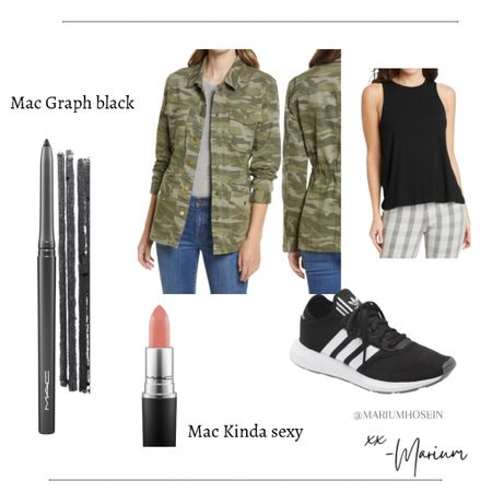 Utility jackets are such a great piece for transitioning from summer to fall. This one is marked down. Shoes are true to size. Lipstick in the color kinda sexy, max color graph black - both on sale today. And free shipping. Tank in size small   #LTKsalealert #LTKbeauty #LTKstyletip