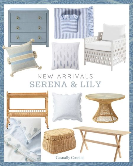 All of my favorite new arrivals from Serena & Lily!  @liketoknow.it @liketoknow.it.home #liketkit #LTKhome #LTKfamily http://liketk.it/3hbxh  summer decor, summer decorations, summer home decorations, coastal decor, beach house decor, beach decor, beach style, coastal home, coastal home decor, coastal decorating, coastal house decor, home accessories decor, coastal accessories, beach style, coastal living room decor, coastal family room, living room decor, blue and white home, blue and white decor, living room furniture, furniture for sunroom, sunroom furniture, rattan basket decor, basket with lid, basket with top, basket with cover, handwoven baskets, woven baskets with lid, woven basket storage, rattan baskets with lid, couch pillows, blue and white pillows, blue & white pillows, throw pillows couch, 14x20 throw pillows, lumbar pillows, lumbar throw pillow, lumbar pillows for chair, lumbar pillows for bedroom, serena and lily pillows, blue serena and lily pillows, serena and lily pillows, serena & lily pillows, side tables, wicker tables, living room side tables, bedroom tables side, bedroom side tables, rattan side table, coastal modern, coastal decorating, blue and white bedroom, blue and white bedding, rattan bar cart, serena and lily bar cart, round dining table, rattan dining table. Serena and lily dining table, outdoor dining table, outdoor patio table, outdoor furniture, coastal outdoor chair, outdoor lounge chairs, blue and white duvet cover, white duvet cover, striped sheets, linen sheets, linen sheet set, coastal bedding, coastal bed decor, chest of drawers, chest for bedroom, entryway chest, entryway table, sofa table, blue and white shams, shams, sham set, bed shams, neutral pillow cover, pillows with tassets, embroidered pillow covers