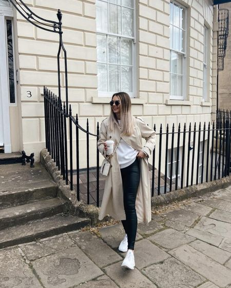 Bath, bath blogger, neutral fashion? White sweatshirt, missguided leather leggings, Steve Madden, coffee run, ootd, outfit inspiration #liketkit @liketoknow.it http://liketk.it/3hOzJ