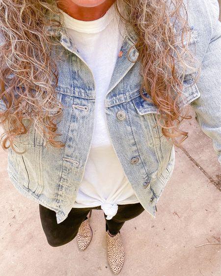Old navy blue Jean jacket size small / aerie oversized tee size small / old navy pull on jeggings size 4 fit TTS / rue 21 cheetah print booties fit TTS / spring fashion / workwear / style http://liketk.it/3fjgQ #liketkit @liketoknow.it #LTKunder50 #LTKshoecrush #LTKstyletip