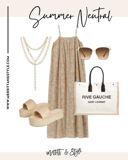 Neutral dress designer bag easy summer outfit   #LTKsalealert #LTKstyletip #LTKunder50