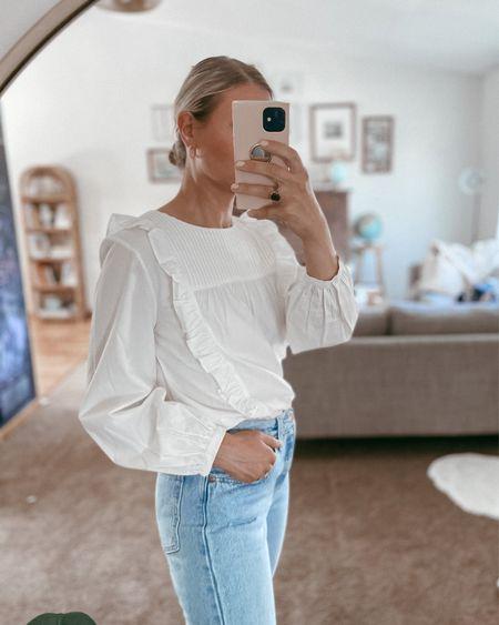 White ruffle sleeve blouse - use code KARIN20 to get 20% off! I'm wearing a small.   #LTKsalealert #LTKSeasonal