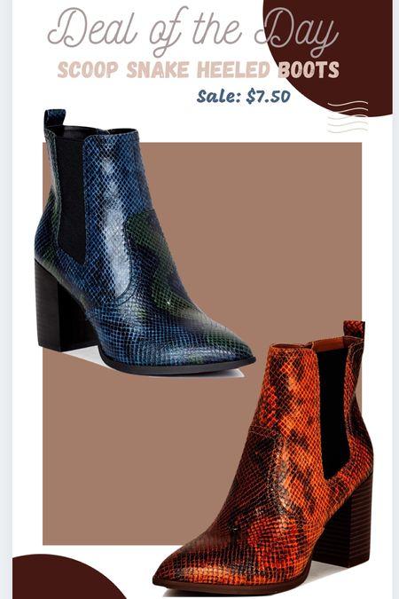 Walmart Finds Walmart Fashion Scoop Snakeskin heeled boots #booties #ltkunder10  #LTKshoecrush #LTKstyletip #LTKsalealert