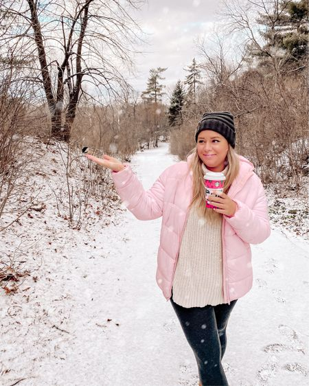 A little birdie told me the trick to enjoying winter was staying warm! The only thing I care about in a Winter Wonderland is being warm! Staying cozy with this off-white cowl neck knit sweater, baby pink puffer coat and comfy leggings. http://liketk.it/34r9q @liketoknow.it #liketkit #LTKsalealert #LTKunder100 #LTKstyletip  #pompombeanie #pombeanie #pomhat #puffercoat #pufferjacket #puffercoats #pufferjackets #ugg #winterboots #turtleneck #cowlneck #knitsweater #winteroutfits #wintercoat