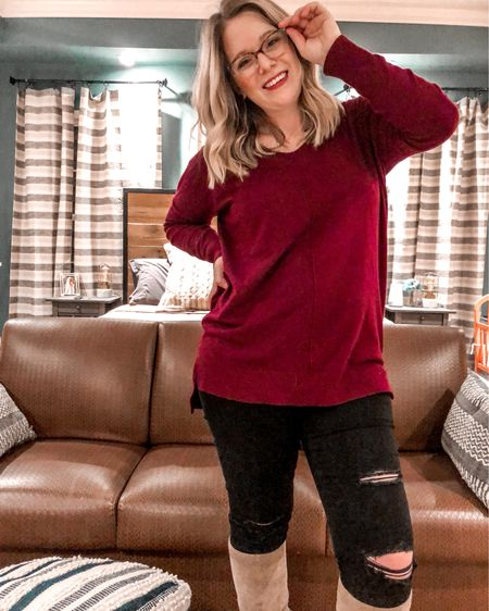 This sweater is so soft! I love the color, but I don't think they have the cranberry one anymore. I have linked it in red.    http://liketk.it/33H01 #liketkit @liketoknow.it #versona #oldnavystyle