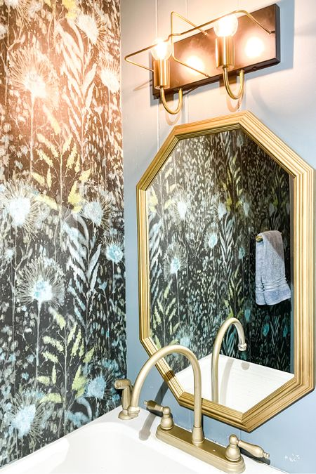 My Powder Room Refresh is almost complete and here are some of my favorite items for my  bathroom renovation. From peel and stick wallpaper, to modern vanity light fixture. I'm loving the gold details in the hexagon mirror and pops of texture with a wood frame.   http://liketk.it/39emd #liketkit @liketoknow.it #LTKhome #LTKunder50 #LTKstyletip @liketoknow.it.brasil @liketoknow.it.europe @liketoknow.it.family @liketoknow.it.home Shop your screenshot of this pic with the LIKEtoKNOW.it shopping app