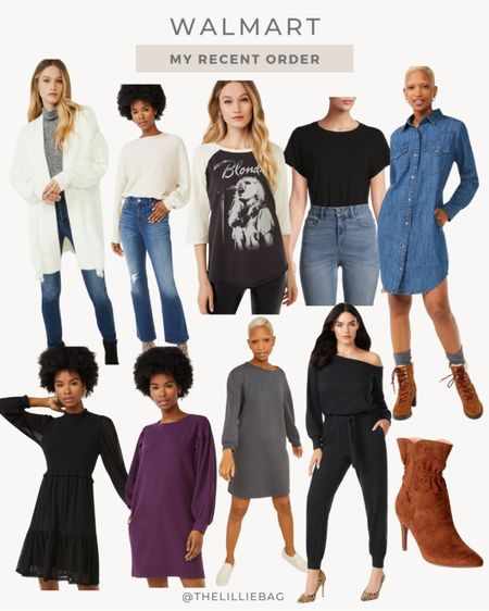 My recent order from Walmart! Perfect for fall.   #ad @walmart @walmartfashion #walmartfashion   Cardigan. Sweater. Graphic tee. Bodysuit. Dress. Sweater dress. Jumpsuit. Booties.     #LTKunder50 #LTKSeasonal #LTKstyletip