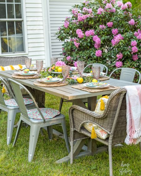 A perfect spot for morning brunch! I created this beautiful table with affordable citrus summer finds from @walmart. The adorable dipping bowls have a lemon wedge for ice water. The metal chairs (also from Walmart.com) tend to warm up in the sun, so I covered them with colorful braided placemats from Pioneer Women. I have a step by step tutorial for setting the table and creating an EASY citrus centerpiece on the blog! Come on over for brunch! #ad http://liketk.it/3feAw @liketoknow.it #liketkit @liketoknow.it.home #LTKunder100 #LTKunder50 #LTKhome