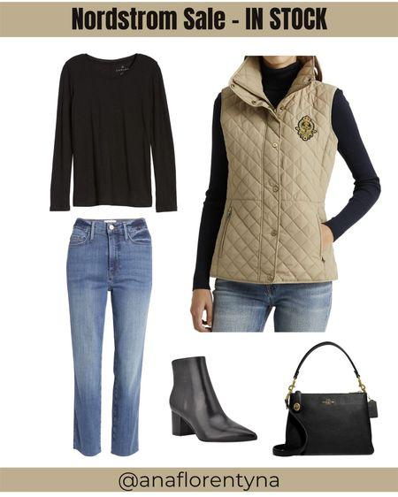 Nordstrom NSale, quilted jacket, straight leg jeans, black shirt, black booties, black handbag, #Nsale    #LTKsalealert #LTKunder100 #LTKshoecrush