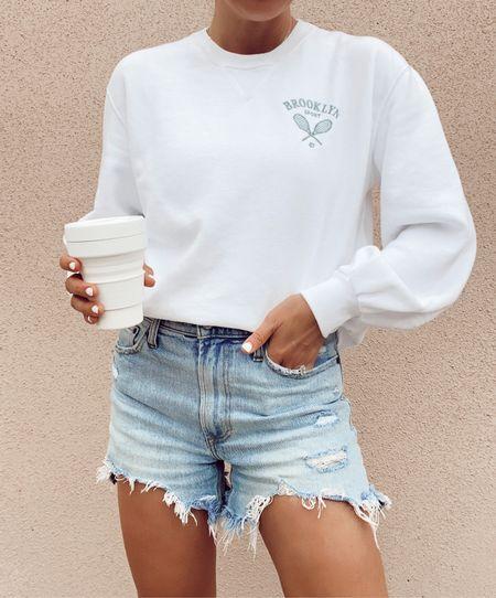 ltk day, abercrombie sale, sweatshirt, jean shorts   #LTKsalealert #LTKDay