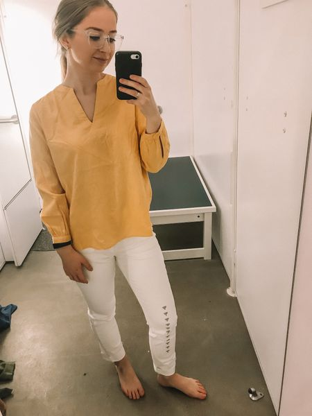 This Old Navy linen yellow top is so adorable for spring! It fits true to size and comes in a bright coral color too! Love the white jeans paired with it!   #liketkit @liketoknow.it http://liketk.it/2AoJ0 #LTKunder100 #LTKunder50 #LTKstyletip #LTKsalealert