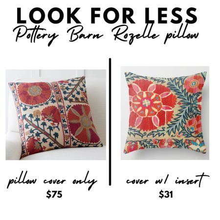 Look for less, Pottery Barn Rozelle embroidered pillow, suzani, fall home decor  #LTKunder100 #LTKhome #LTKunder50